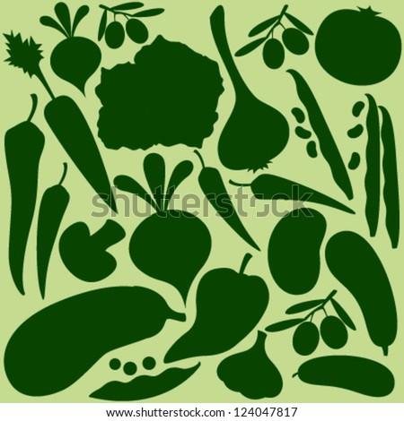 vegetables silhouette on light green seamless pattern - stock vector