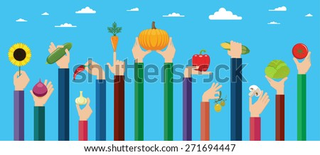 Vegetarian food icons. Flat design hand icons holding different types of vegetables high against the sky. Vector illustration.