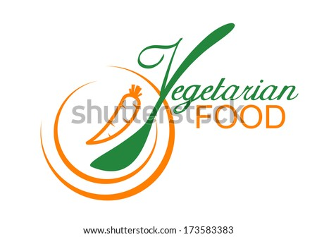 Vegetarian food symbol showing a fresh carrot on a plate with stylized font incorporating a spoon, vector illustration - stock vector