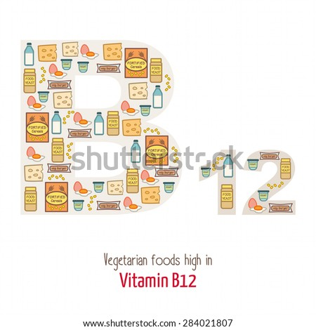 Vegetarian foods highest in vitamin B12 composing B12 letter shape, nutrition and healthy eating concept - stock vector