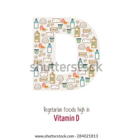 Vegetarian foods highest in vitamin D composing D letter shape, nutrition and healthy eating concept - stock vector