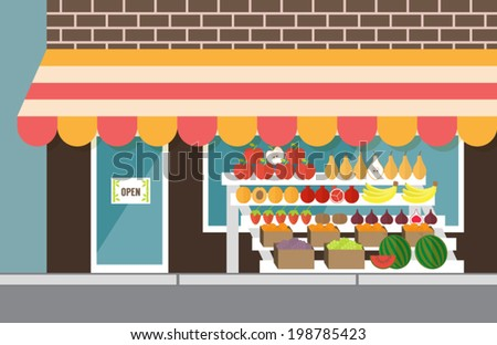 Vegetarian market, fresh farm organic food. Wholesome vegetables and fruits. Outdoor stall. Flat design vector illustration. - stock vector