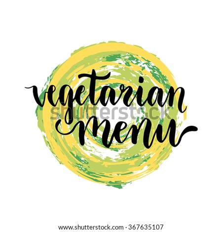Vegetarian menu background. Creative cover for cafe with handwriting inscription. Vector illustration - stock vector