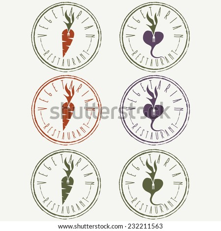 vegetarian restaurant labels with carrot and turnip - stock vector