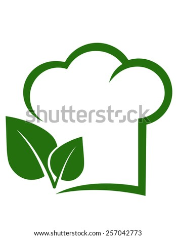 vegetarian sign with chef hat, green leaf and place for text - stock vector
