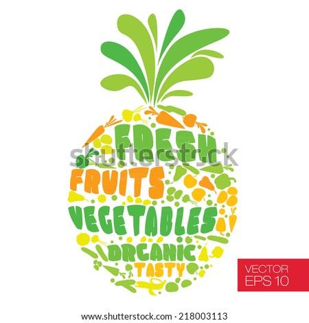 Vegetarian vector illustration  - stock vector