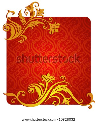 vegetative and flower ornament. Red & gold colors. A vector illustration. - stock vector