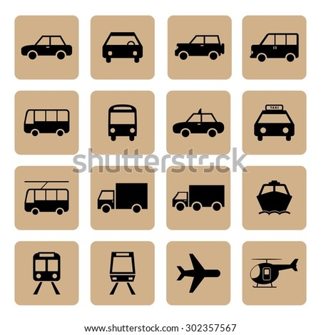 Vehicle and Transportation icons set. Car icon. Plubic bus icon. Truck icon. Train icon. Plane icon. Vector. Silhouette. EPS10 - stock vector