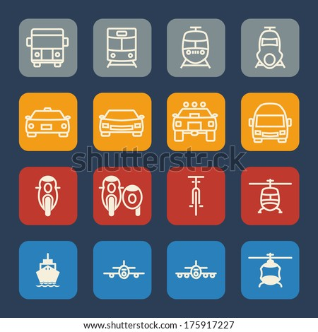 Vehicle and transportation icons set. Flat design. - stock vector