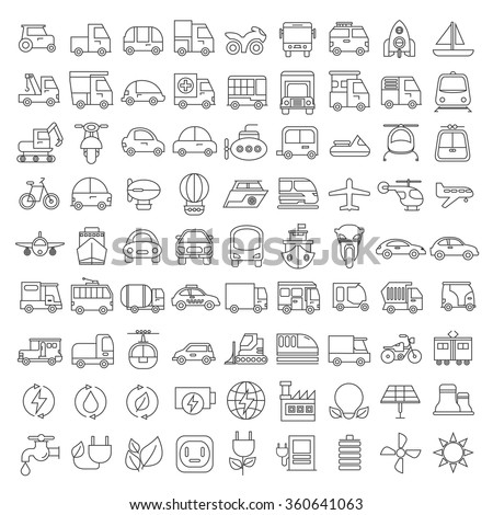 vehicle icons set, transportation icons, thin line theme - stock vector