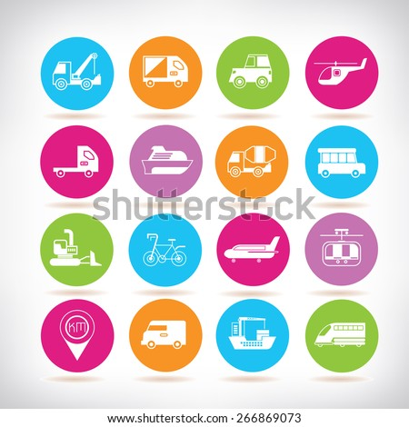 vehicle icons, transportation icons - stock vector