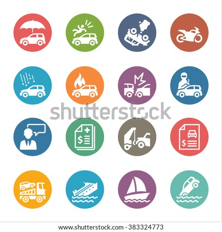 Vehicle Protection Icons - Dot Series - stock vector