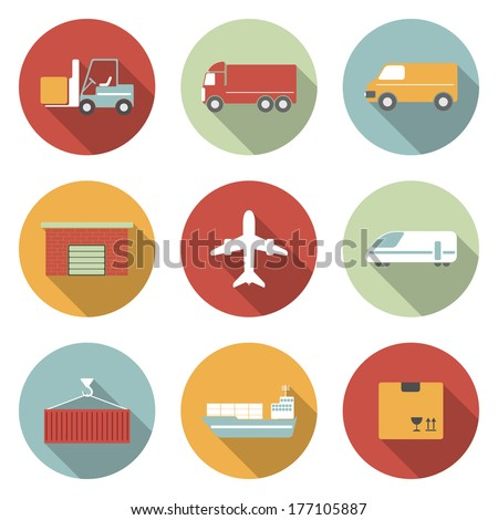 Vehicle, transport and logistics vector flat icons. - stock vector