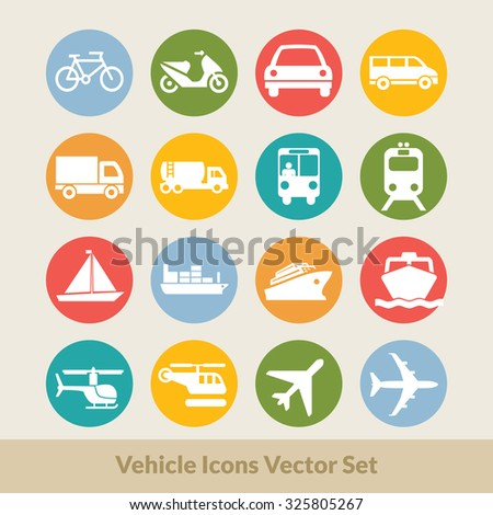 Vehicle Transportation Flat Icons Vector Set: icon, transport, transportation, car, truck, vector, train, ship, trailer, boat, cargo, jeep, collection, motor, cruise ship, illustration,  - stock vector
