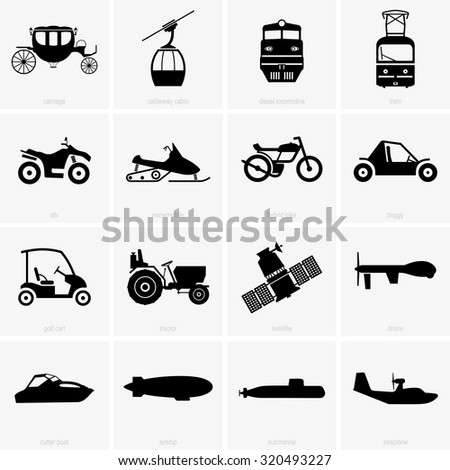 Vehicles and transportation - stock vector
