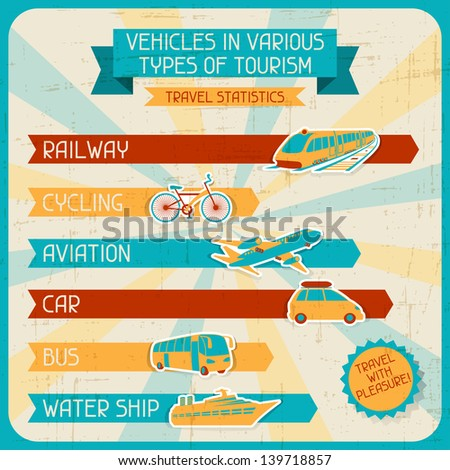 Vehicles in various types of tourism. - stock vector