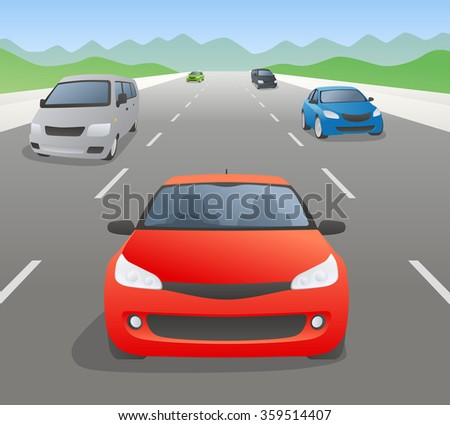 vehicles on highway, front view, vector illustration - stock vector