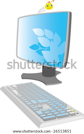 Vektonaya picture. The monitor with the keyboard - stock vector