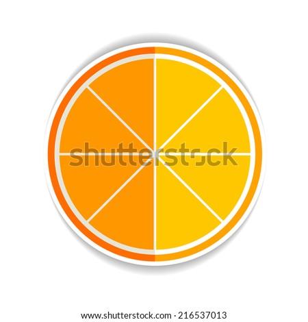 Vektor Illustration of Lemon Orange Fruit Flat Icon yellow ripe orange - stock vector