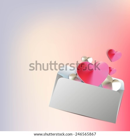 Velentines Day background with silk hearts in an envelope. Vector illustration. - stock vector