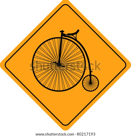 Velocipede (old  bicycle) road sign - stock vector