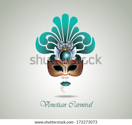 Venetian carnival mask - stock vector