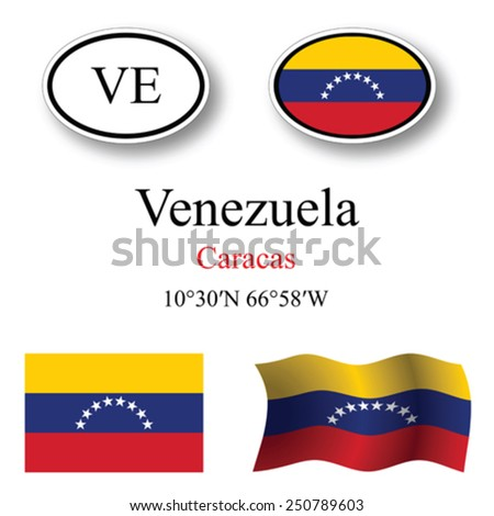 venezuela icons set against white background, abstract vector art illustration, image contains transparency - stock vector