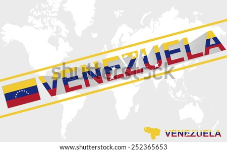 Venezuela map flag and text illustration, on world map - stock vector