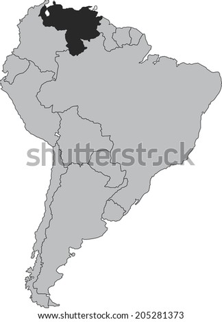 Venezuela vector map isolated on white background with borders of South America - stock vector
