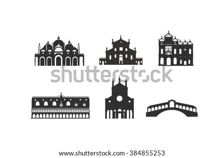 Venice buildings Doge's Palace,Rialto bridge,Church of San Giorgio,Saint Mark's Basilica,Scuola Grande di San Marco,Santi Giovanni e Paolo  - stock vector