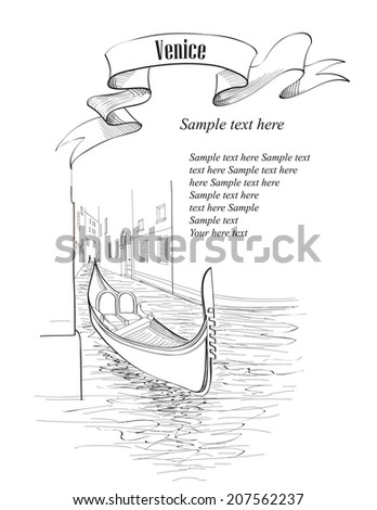 Venice cityscape. Ancient buildings and canal with gondola. Travel Italy Europe background with copy space. Vector hand drawn sketch illustration of italian landmark.  - stock vector