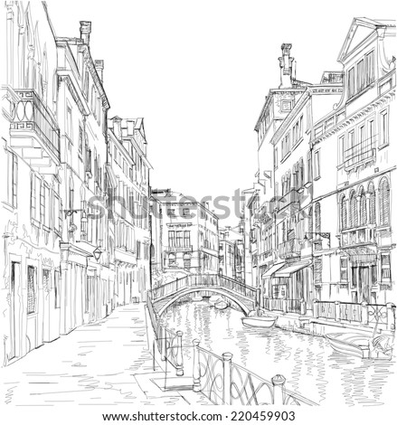 Venice - Fondamenta Rio Marin. Vector drawing - stock vector