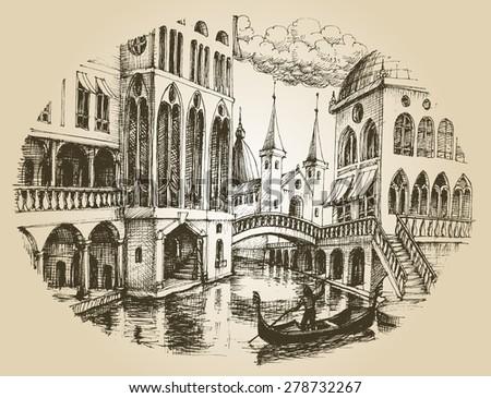 Venice gondola  - stock vector