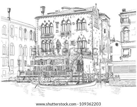 Venice - Grand Canal. Ancient building & gondola. Vector drawing - stock vector