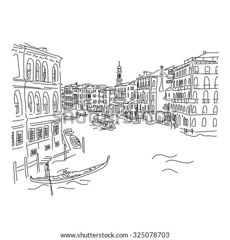 Venice, Grand Canal. Sketch for your design. Vector illustration - stock vector