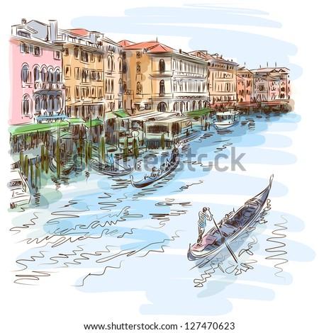 Venice - Grand Canal. The view from the Rialto Bridge. Vector sketch. Eps10 - stock vector