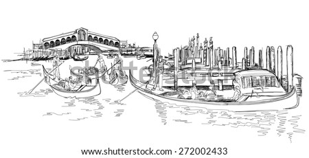 Venice - Grand Canal. View of the Rialto Bridge. The gondoliers floats on a gondola with tourists. Vector black & white sketch - stock vector