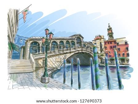 Venice - Grand Canal. View of the Rialto Bridge. Vector drawing. Eps10 - stock vector