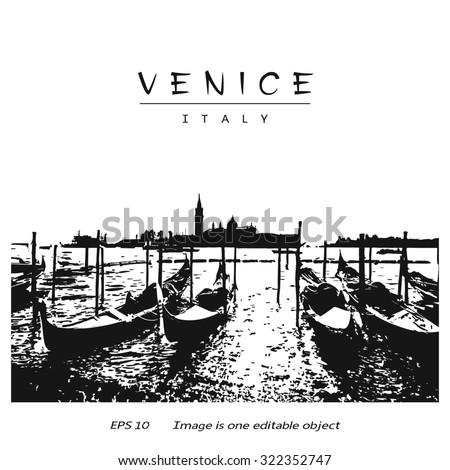 Venice (Italy, Europe) - canal with gondolas and silhouette San Giorgio di Maggiore church.  Vector image edited auto-trace of author's photo. - stock vector