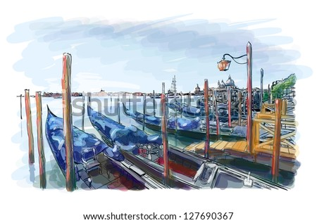 Venice. Quay Piazza San Marco. Gondolas on the water. Vector drawing. Eps10 - stock vector