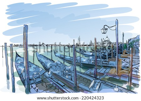 Venice. Quay Piazza San Marco. Gondolas on the water.Vector drawing. Eps10 - stock vector