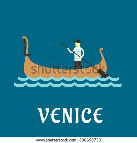 Venice travel concept with venetian gondolier in traditional costume, in a wooden gondola boat with paddle on a river - stock vector