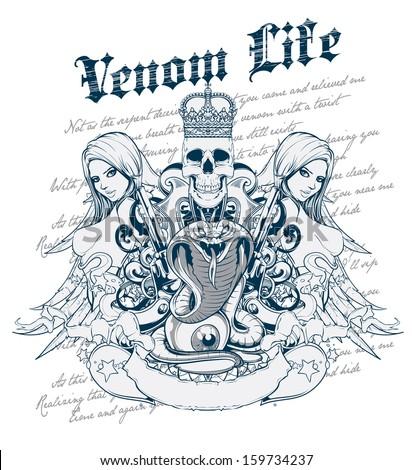 Venom life - stock vector