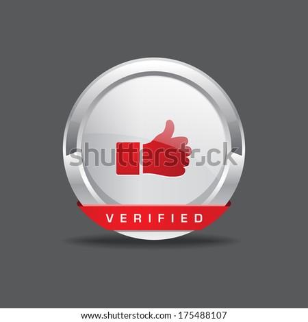 Verified Thumbs Up Vector Button Icon - stock vector