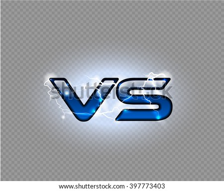 Versus blue sparkling lightning glossy logo. VS isolated vector letter with energy light effect. Competition electric icon. Fight symbol. - stock vector