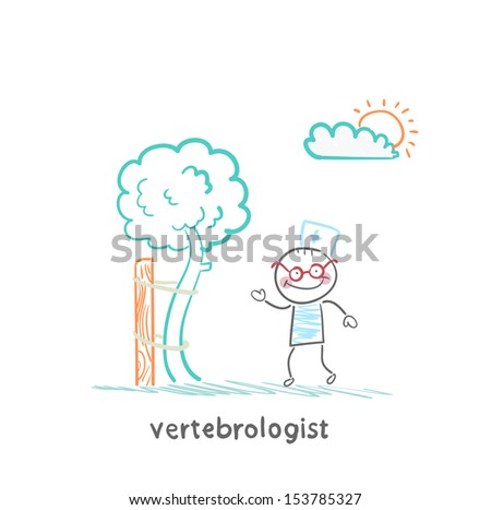 vertebrologist standing near tree with a crooked trunk - stock vector