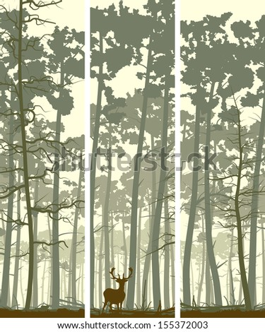 Vertical abstract banners of wild deer in forest with trunks of pine trees. - stock vector