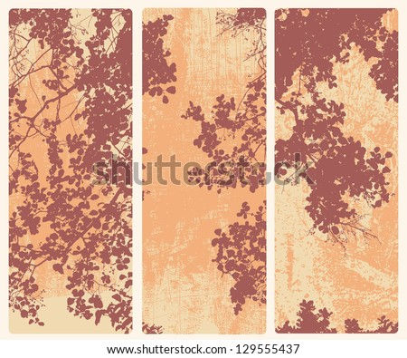 vertical abstract banners with tree and branches silhouette. vector illustration. - stock vector