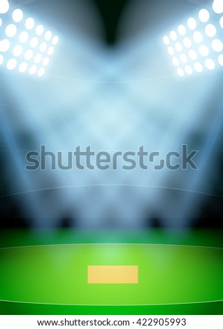 Vertical Background for posters night cricket stadium in the spotlight. Editable Vector Illustration. - stock vector