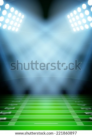 Vertical Background for posters night football stadium in the spotlight. Editable Vector Illustration. - stock vector